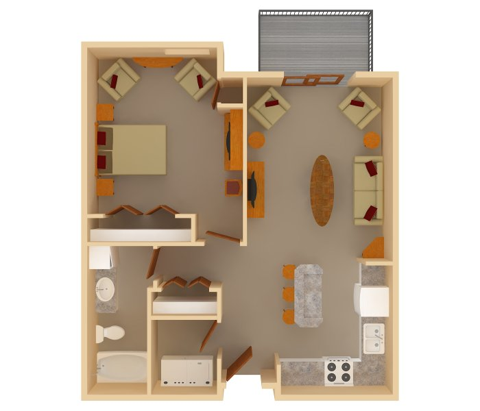 1 Bedrooms - $745-$1045