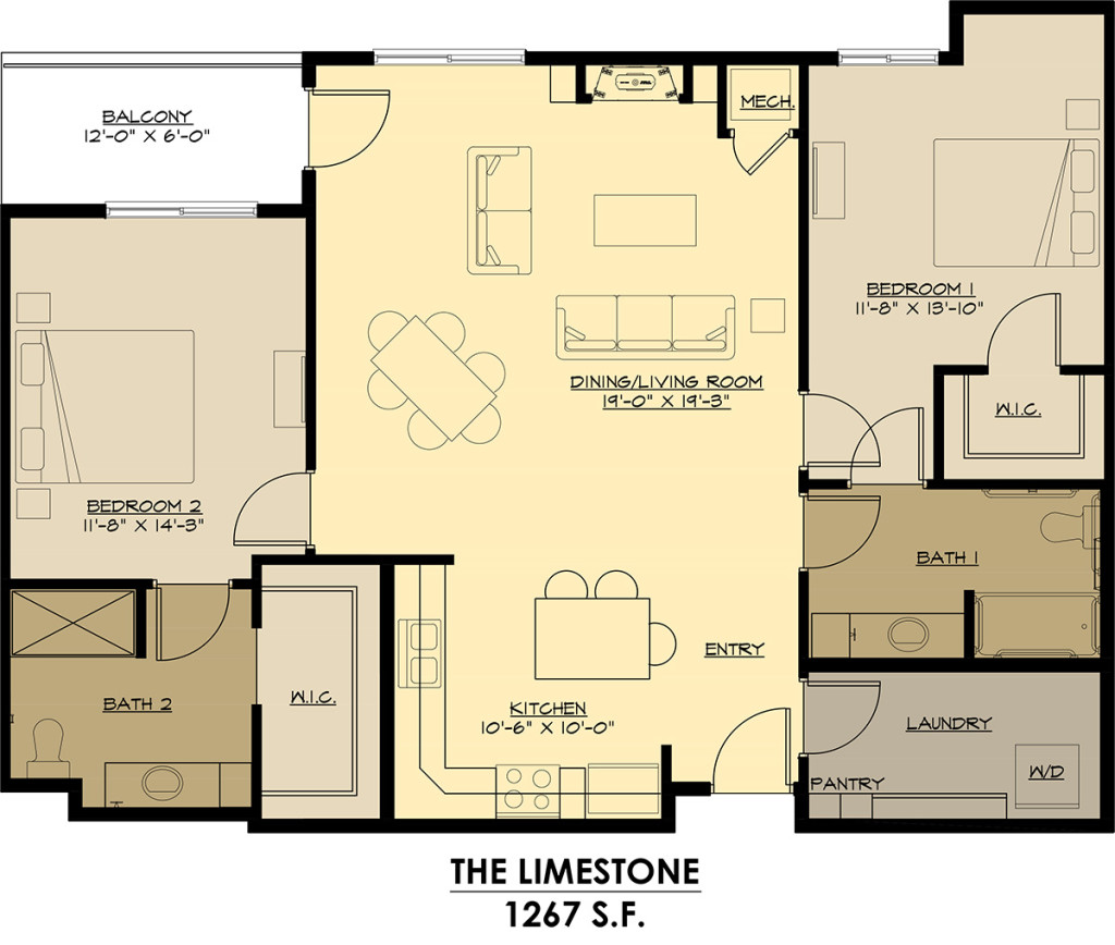 Two Bedrooms - $1275-$1325