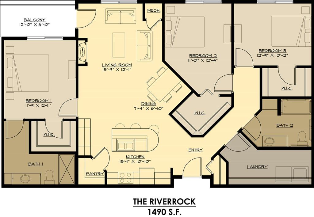 Three Bedrooms - $1525-$1895