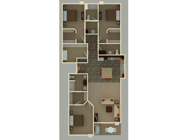 Three Bedrooms - $1435-$1445
