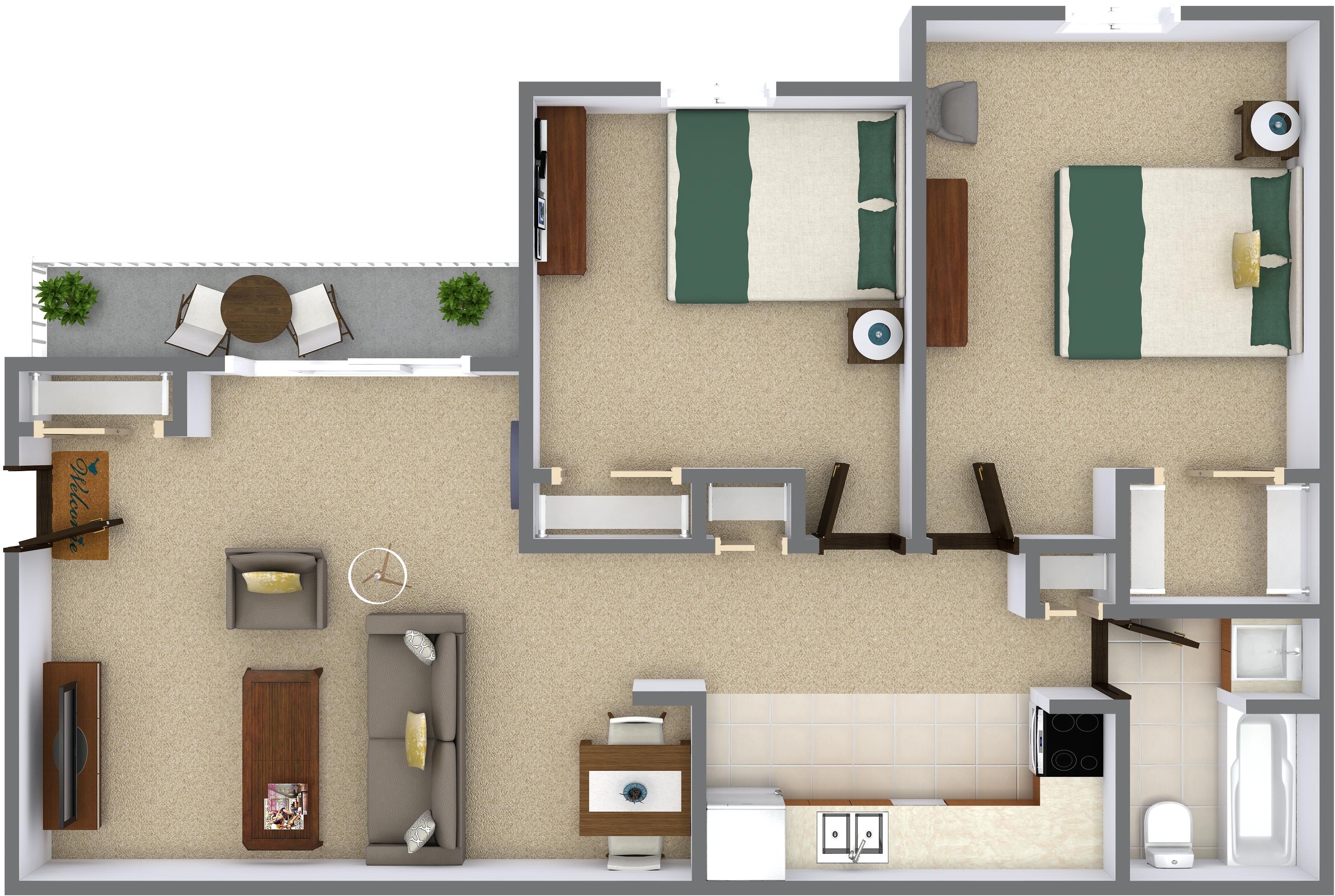 2 Bedrooms - $1000