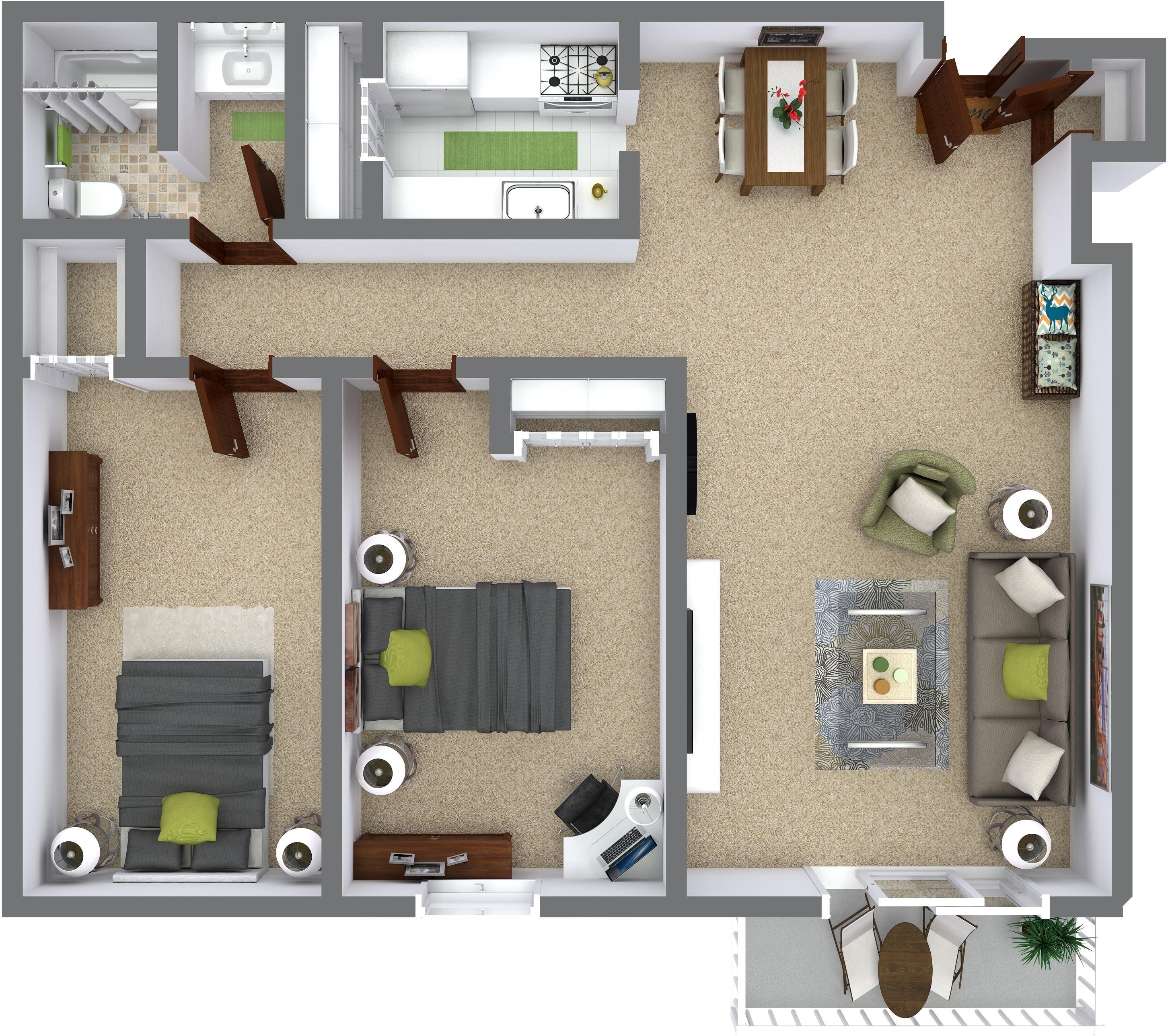 2 Bedrooms - $1130-$1145