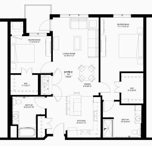 Two Bedrooms - $1075-$1178