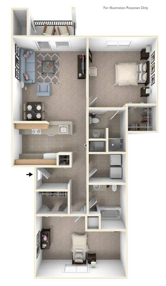 Two Bedrooms - $935-$960