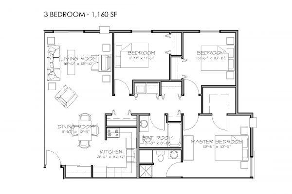 3 Bedrooms, 2 Bathrooms - $770-$920