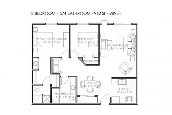 2 Bedrooms, 1 3/4 Bathrooms - $720-$885