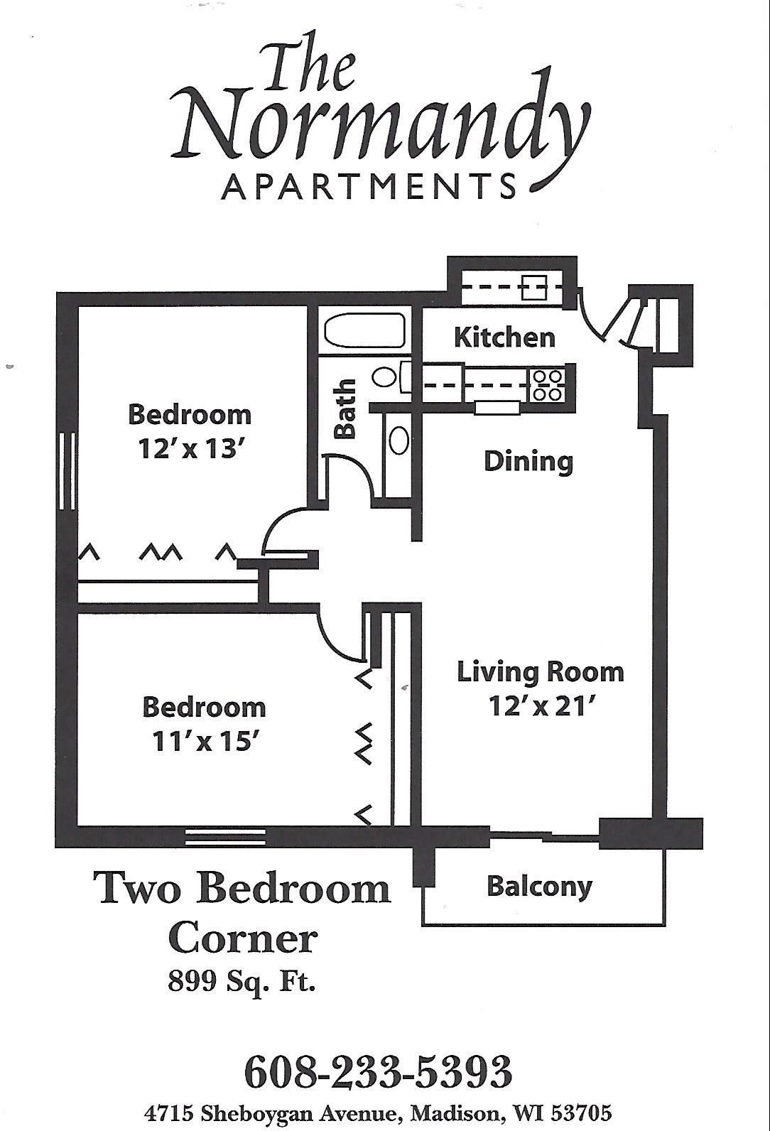 2 Bedrooms - $1246